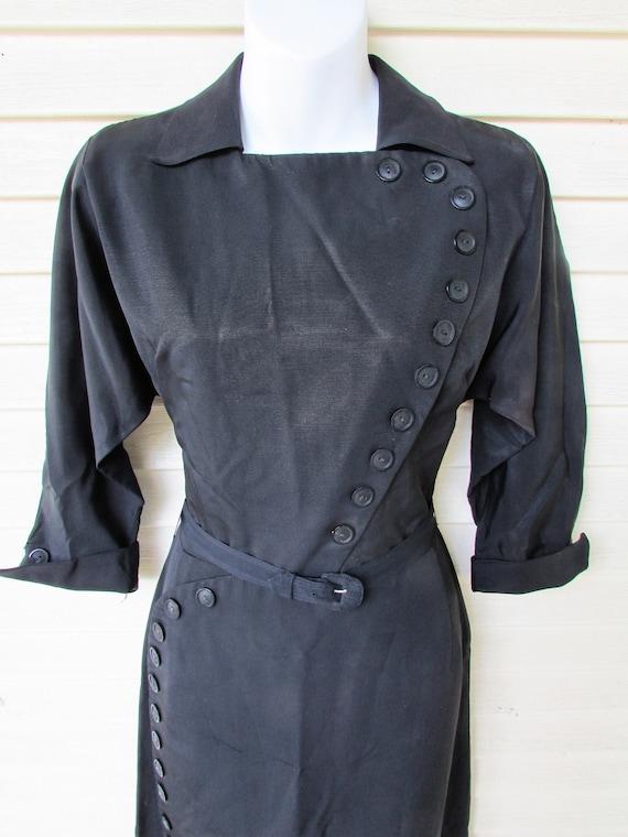 Vintage 1940's PIN UP Dress Black Taffeta/Pin-Up P