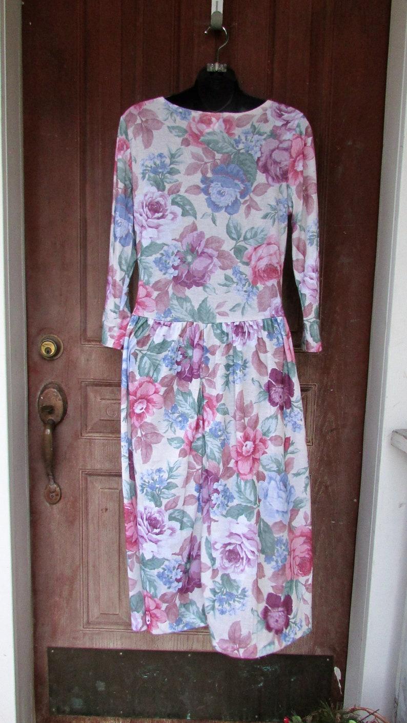NOS Vintage Grunge Dress 1990/'s Floral SCOOP Neckline Festival Midi Boho NWT M