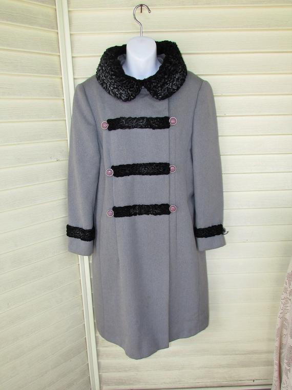 Vintage 1950's Wool Coat Grey Black Curly Persian