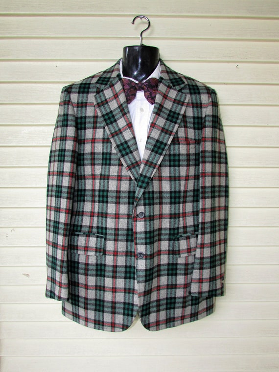 Vintage Wool Plaid  Blazer Men's Hipster Disco Bla