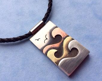 Ocean Waves Pendant - Large - Silver Copper Brass