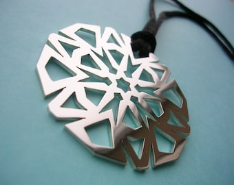 Hand Pierced Silver Snowflake Pendant Necklace - Large