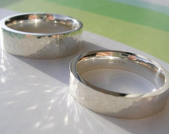 Sterling Silver Wedding Bands - Hallmarked with Hammered Shimmer Finish