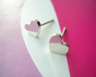 Sterling Silver Mini Hearts Stud Earrings
