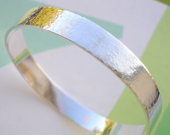 Sterling Silver  Bracelet Bangle with Hammered Shimmer Finish