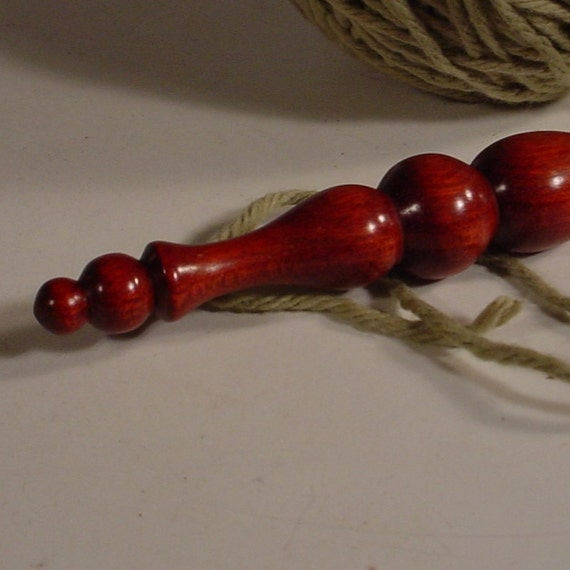 Hand Turned Exotic Bloodwood Wooden Crochet Hook Made in USA