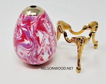 Purple and Pink Swirl Kaleidoscope 24k Kaleidoscope Egg and Stand