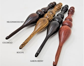 Wooden Crochet Hooks, Handcrafted from Exotic Woods,4 Pack, Turned in USA