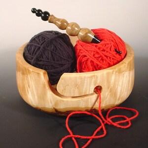 Big Leaf Maple Burl Wooden Yarn Bowl Turned Wood Bowl Art  Number 6823