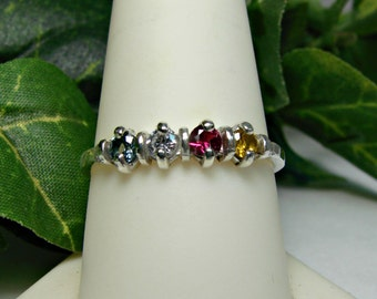 70% OFF Going Out of Business Sale.. Mothers and Grandmothers Rings Sterling Silver, 4 Gems- size 9.5