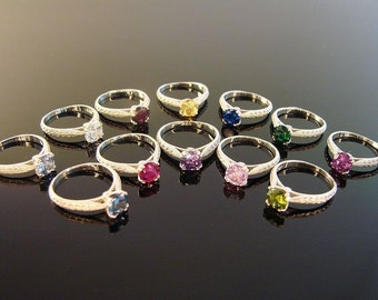 Birthstone rings Sterling Silver, you pick stone and size. (29)