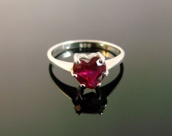 Heart Shaped Ruby Ring - Sterling Silver - (8)