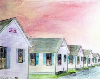 Cape Cod, Provincetown - Fine Art Print - Days' Cottages - Cape Cod Print, Massachusetts, Provincetown, Watercolor, Fine Art