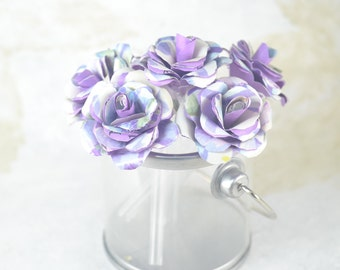 Small Upcycled PAPER FLOWERS Arrangement - Forever Flowers - Clear Plastic Pot Purple Flowers