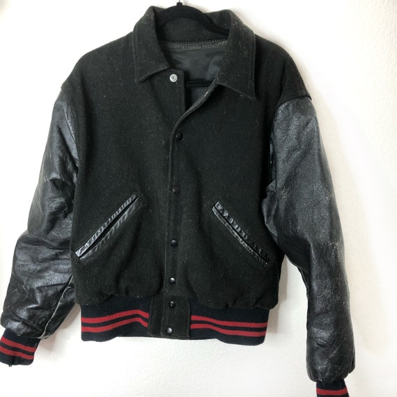 Vintage Black  Varsity Jacket Leather Wool NO SIZE