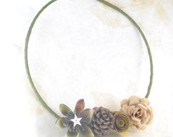 Paper Flower Wreath - Upcycled Paper Roses - Pinecone - 7.5 Inch Wreath - Paper Flower Door Hanger