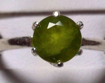 Vesuvianite in silver ring