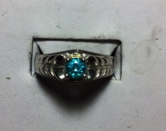 Round Apatite and silver ring