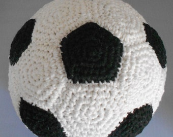 Cotton Crocheted Soft American Soccer Ball - Crocheted Soft European Football - Indoor Black & White Soccer Ball - Crocheted Soccer Ball