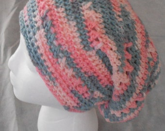 Crochet Slouchy Hat - Woman Slouch Hat - Cotton Crochet Slouchy Hat - Youth Pink and Grey Slouch Hat - Crocheted Winter Hat - Pink Gray Hat