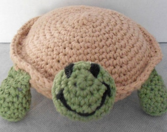 Turtle Stuffed Animal - Amigurumi Turtle - Plush Turtle Toy- Turtle Plushie - Tan and Green Turtle Toy - Cotton Crochet Turtle - Toy Turtle