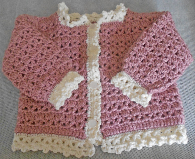 7799b98e52fc Crocheted Baby Girl Sweater Pink Baby Sweater Size Nine to
