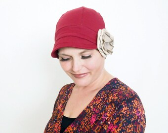 Women Fashion Hat, Burgundy Cloche Hat, Women Old Fashion Flapper Hat, Stylish Cozy Cap, Handmade Cotton hat for women, Chemo full cover hat