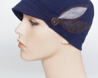 Chemo hats for hair loss, cancer headwear, trichotillomania, women accessories, lupus headwear, soft alopecia hats, woman blue chemo cap