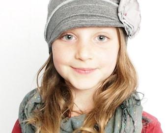 Kids grey hat soft and comfy hat lightweight fashion children hat girl cloche flapper stylish handmade hat cozy cap cotton handmade hat