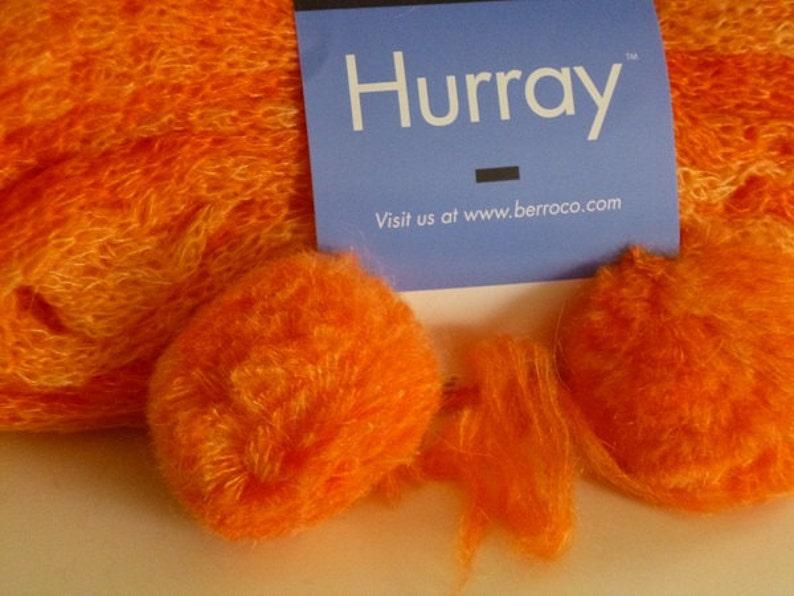 Orange Mohair Blend Yarn 1 Hank 8605 Berroco HURRAY Yellow