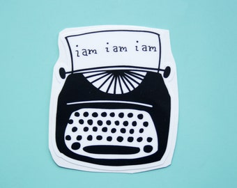 Sylvia Plath Typewriter Vinyl Sticker
