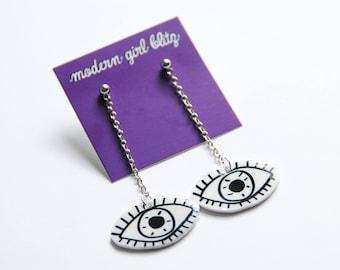 Eye Statement Dangle Earrings / Spooky Goth Earrings