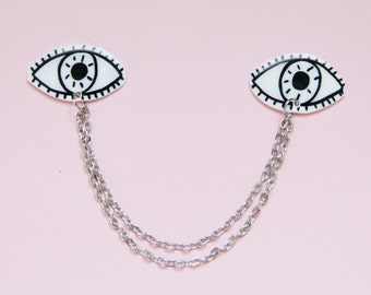 Black and White Eyes Collar Pin Set w/ Chain / Spooky Witchy Pin