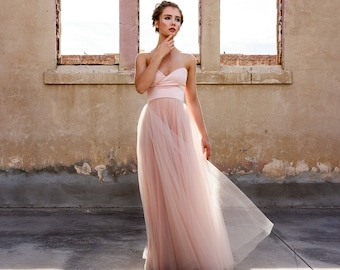 32c3571ddfe Hand dyed Sweetheart Strapless Tulle Ball Gown - Blushing by Cleo and  Clementine