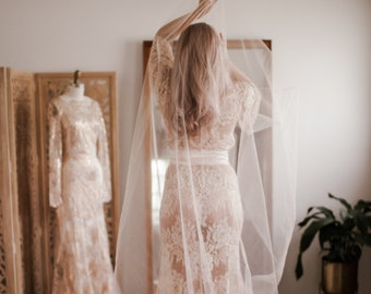 Color Tinted Bridal Veil ( Cathedral, Blusher, Double Tier, Elbow, Finger Tip ) by Cleo and Clementine