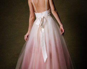 Ombre Dip Dyed Tulle Ballgown Wedding Dress - Sunset by Cleo and Clementine