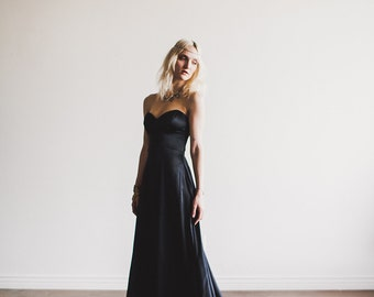 Black Floor length Sweetheart Strapless Wedding Gown Alternative Bride - Gala Gown by Cleo and Clementine