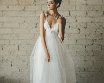 Deep V Neck Floor Length A Line Tiered Tulle Wedding Dress - Juliana by Cleo and Clementine