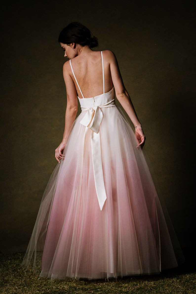 3fa6be8c664 Ombre Dip Dyed Tulle Ballgown Wedding Dress Sunset by Cleo