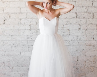 Tulle Sweetheart Strapless Tea Length Cotton and Tulle Party Dress - A Whimsical Spring by Cleo and Clementine
