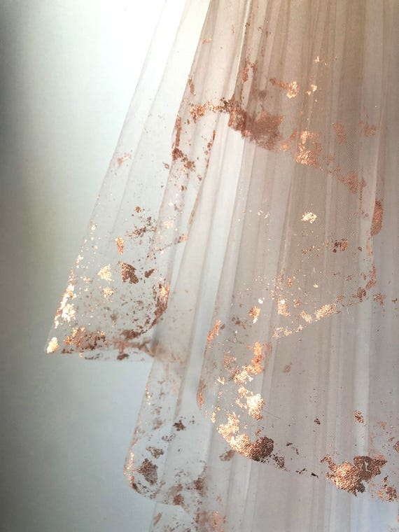 ROSE GOLD Metallic Flaked Bridal Veil Hera by Cleo and | Etsy