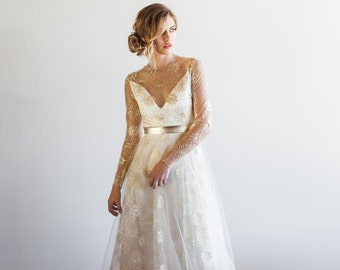 Tattoo Lace Sheer Sleeved Tulle Floral Metallic Gown - Samantha by Cleo and Clementine