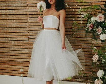 Two piece ballet separate crop top tulle skirt combo