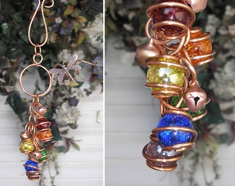 Rainbow Wind Chimes, Personalized Gift, Garden Decor, Dragonfly, Glass and Copper Outdoor Art