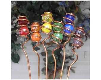 Rainbow Garden Markers - Copper Garden Markers - Glass Garden Stakes - Herb Markers - Vegetable Markers - Flower Markers - Garden Decor
