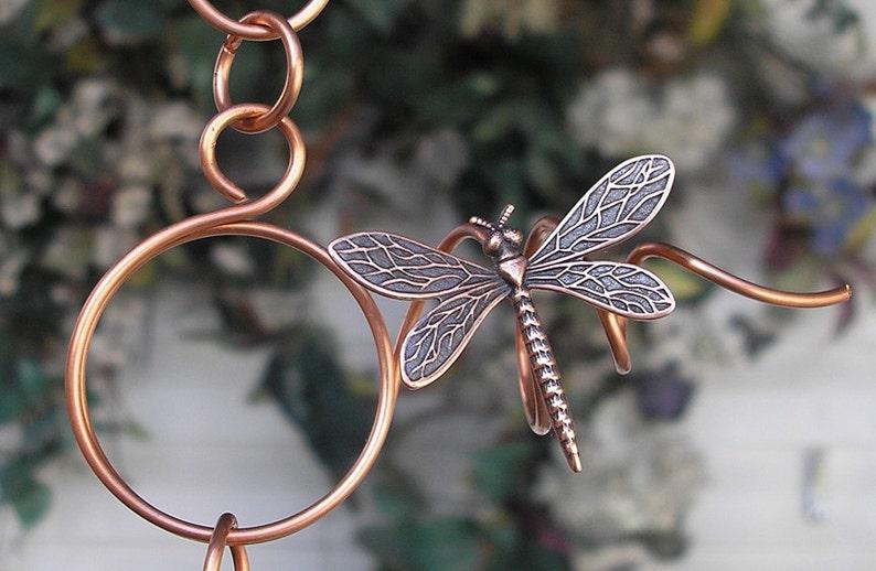 Wind Chimes Copper Art Glass Garden Gift Dragonfly Butterfly