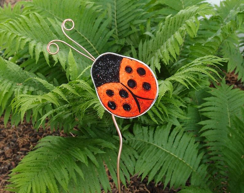 Ladybug Garden Stake   Ladybug Garden Art   Garden Decor   Plant Stakes    Fused Glass Art   Fused Glass Ladybug Garden Stake