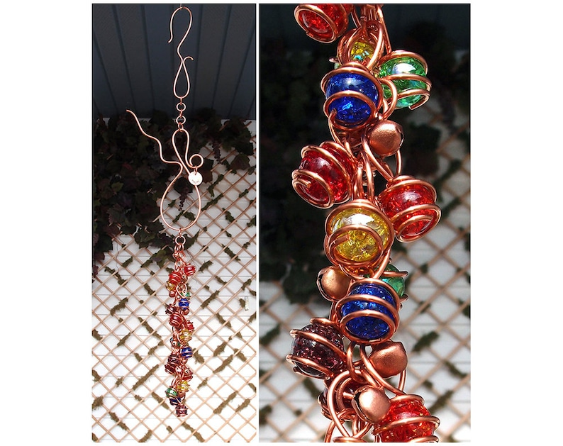 Copper Glass Handmade Gift Personalized Custom for Him or Her Rainbow Wind Chimes Dragonfly Butterfly