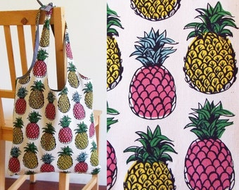 Pineapple tote bag - heavy cotton, lined, with pocket - ready to ship