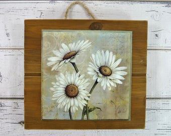 WOOD SLAT Daisy Wall Hanging Pallet Sign Daisies Jute Hanger Beautiful Home Decor Great Gift For Her, Best Friend Mom Sister Faux Painting